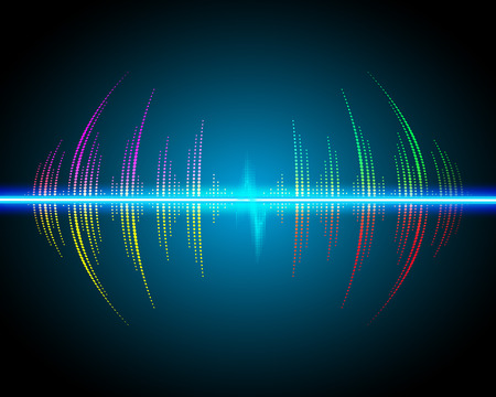 Sound waves oscillating glow, neon light. Abstract technology background, music background, vector illustration Illustration