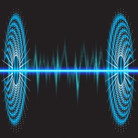 Sound waves oscillating glow, neon light. Abstract technology background, music background, vector illustration Vetores