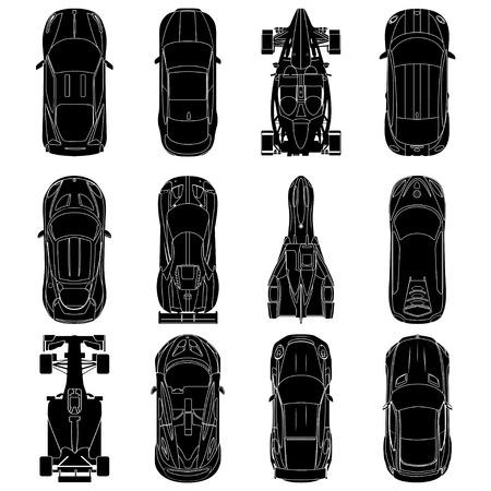 Sport en raceauto's bovenaanzicht pictogrammen instellen, auto silhouetten, geïsoleerd op een witte achtergrond. vectorillustratie
