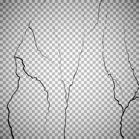 cranny: Wall cracks on checkered background. Rough effect, surface, break or destruction. Vector illustration