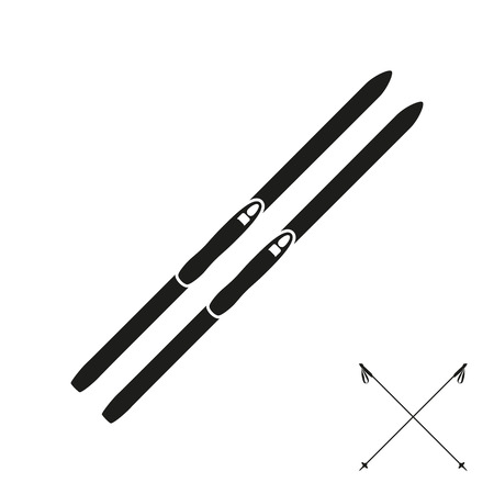 cross country: Cross country skies and its equipment set isolated on the white background. Silhouette design. Ski icons series.