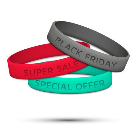 wristband: Black Friday rubber wristband. Vector illustration. Illustration