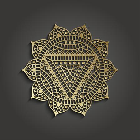 solar plexus: Yoga studio business template with chakra pictogram. Vector illustration. Illustration