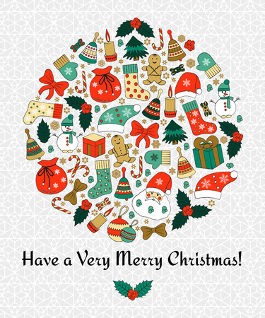 Christmas round greeting card with text Merry Christmas and many winter doodles. Santa, toys, cookies, snowmen, fir, candies, socks, gifts, bows, snowflakes, stars, hollies, mittens, etc. Illustration