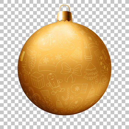 Realistic Christmas golden ball with many winter doodles. Santa, toys, cookies, snowmen, fir, candies, socks, gifts, bows, snowflakes, stars, hollies, mittens, etc. Illustration