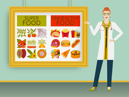unhealthy: Nutritionist showing healthy and unhealthy food on a picture. Illustration