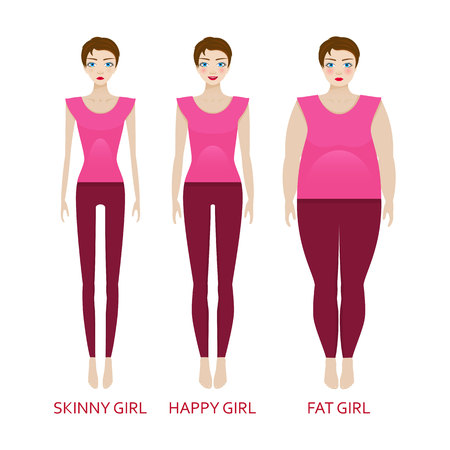 Woman in a different forms. Girl in sportrwear with excess weight, in normal shape and with underweight. Illustration