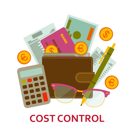 Cost control concept in flat style. Modern design for web banners, web sites, infographic. Vector illustration.