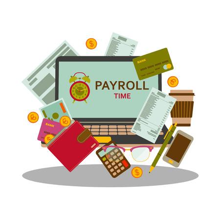 평면 스타일의 급여 지불 및 돈 임금 개념. 웹 배너, 웹 사이트, infographic에 대 한 현대적인 디자인입니다. 벡터 일러스트 레이 션. 일러스트