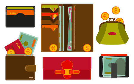 ide: Various wallets with various compartments and money inside. Shopping icons in flat style. Vector illustration. Illustration