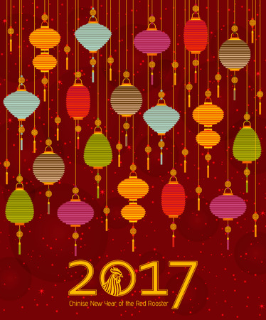 Colorful Chinese paper street lanterns background in flat style. Vector illustration. Illustration