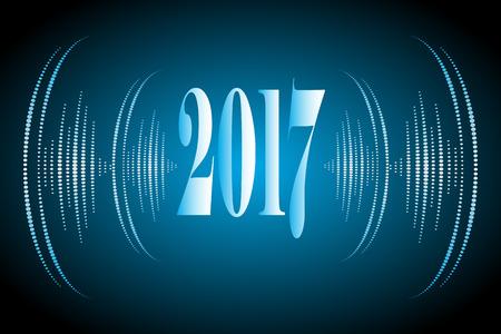 luxo: Feliz Natal e Feliz Ano Novo 2017 cor azul com vawes som ilustra