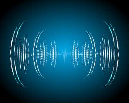 Sound waves oscillating glow, neon light. Abstract technology background, music background, illustration Vettoriali