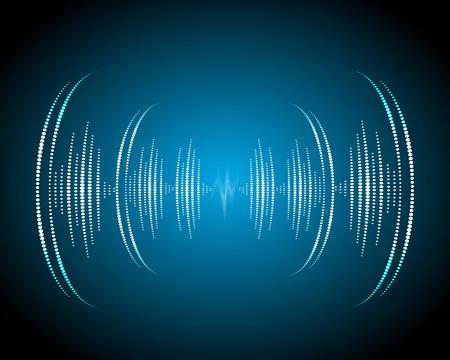 Sound waves oscillating glow, neon light. Abstract technology background, music background, illustration Illustration