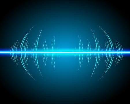 音波振動するネオンの光の輝き。抽象的な技術背景、音楽の背景、イラスト