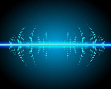 Sound waves oscillating glow, neon light. Abstract technology background, music background, illustration