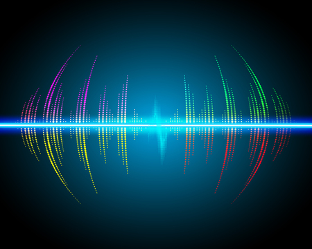 sonic: Sound waves oscillating glow, neon light. Abstract technology background, music background, illustration Illustration