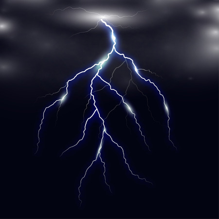 dazzle: Realistic lightning on checkered background. Bright, electric lightning.