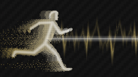 Sound waves oscillating glow, white gold light. Electrocardiogram with man Concept abstract technology background, illustration