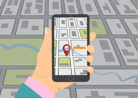 gps device: Mobile gps navigation on mobile phone. Hand holds smartphone with city map on screen. illustration flat design. Icon isolated GPS mobile device.