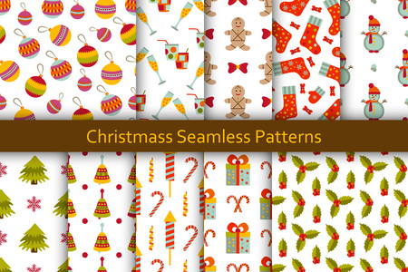 chill: Christmas seamless patterns set with many winter doodle toys. illustration. Illustration
