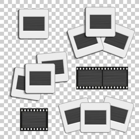photo slide: Realistic photographic slide. Retro design for photo presentation. illustration