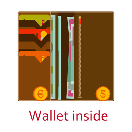 ides: Big wallet inside with cash, coins and cards. Shopping icons in flat style. illustration. Illustration