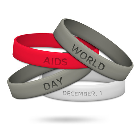 aids virus: World AIDS Day, December 1st. Poster with rubber wristbands. illustration