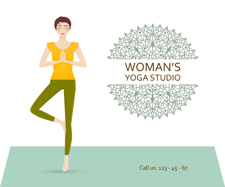 Yoga studio business template with chakra pictogram and attractive young girl practicing tree yoga pose. illustration. Illustration