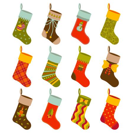 Weihnachtsgeschenksocken stellten mit verschiedenen Feiertagselementen ein. Illustration.
