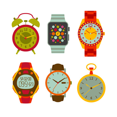 Watches flat set. Colorful illustration.