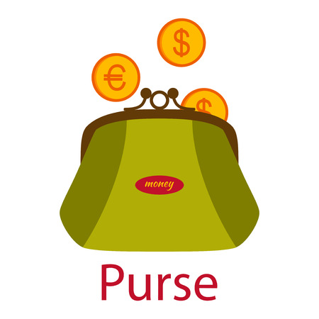 Green purse with coins. Shopping icons in flat style. illustration.