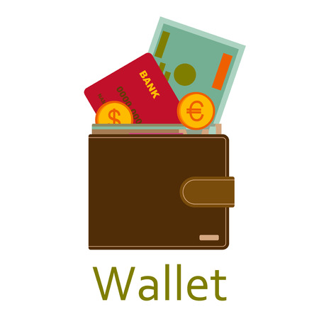 ides: Men wallet with cash and coins. Shopping icons in flat style. illustration. Illustration