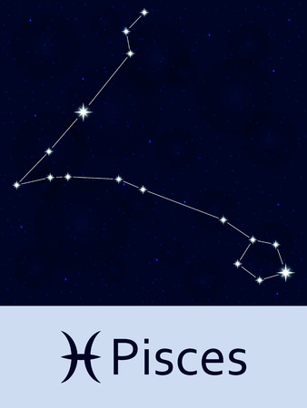 pisces star: Zodiac sign Pisces. Horoscope constellation star. Abstract space night sky background with stars and bokeh at the back. illustration. Good for mobile applications, astrology, science template. Illustration
