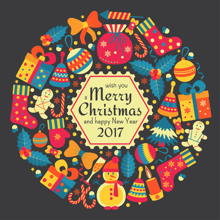Christmas greeting card with text Merry Xmas and many winter doodle toys. Wreath shape. Vector illustration. Illustration