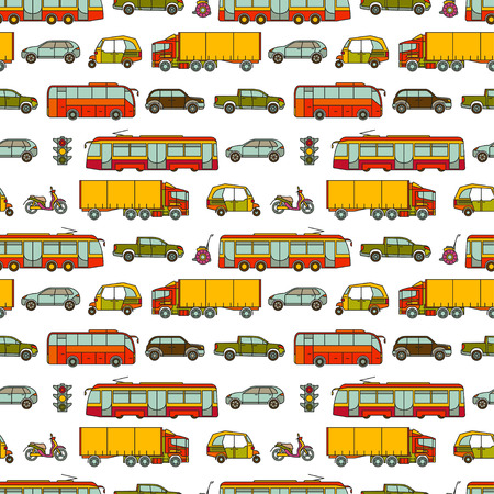 kid illustration: Transport seamless pattern with different vehicles. Vector illustration.