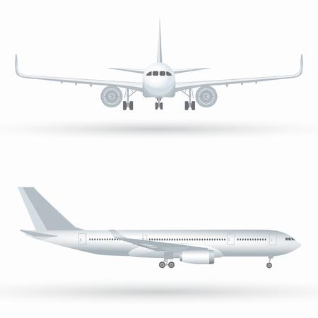 Wit vliegtuigpictogram dat op een witte achtergrond in profiel en van de voorzijde geïsoleerde vectorillustratie wordt geplaatst