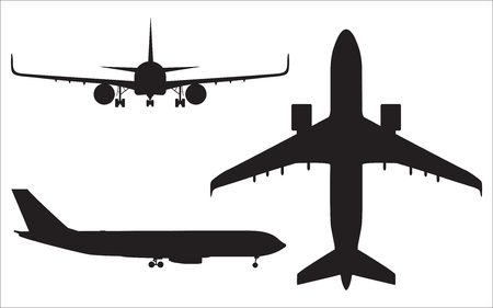 aviations: Airplane silhouettes isolated on white background, aircraft vector illustration.