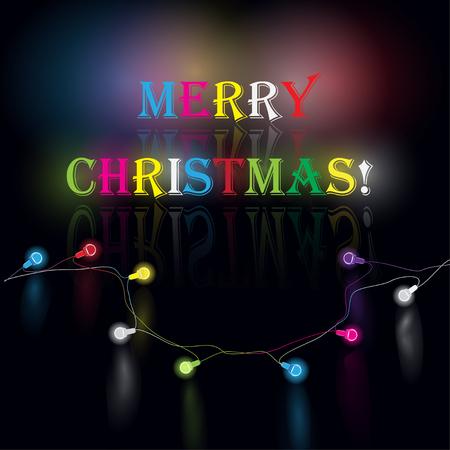 cor: Glowing garland for Xmas Holiday greeting card design. Christmas decoration realistic luminous lights.