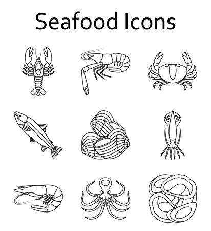 魚介類のアイコンを設定します。ベクトルの図。