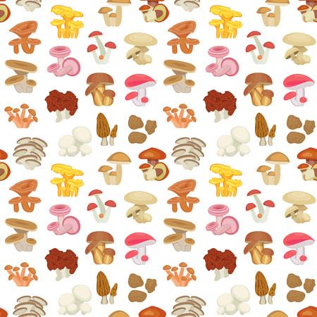 edible mushroom: Edible mushroom seamless pattern. Flat icons. Vector illustration.