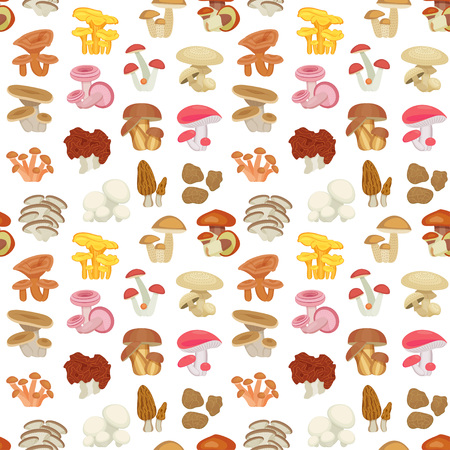 Edible mushroom seamless pattern. Flat icons. Vector illustration.