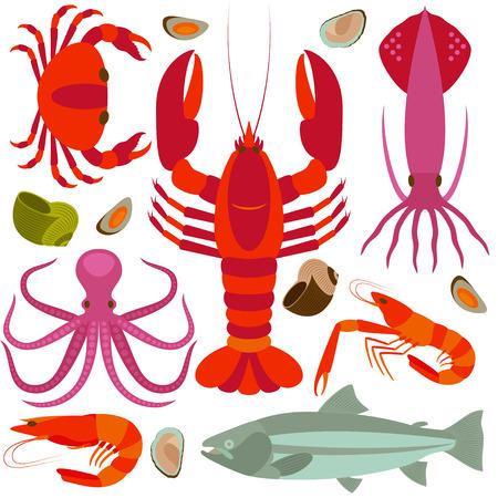 Seafood icons set. Vector illustration.