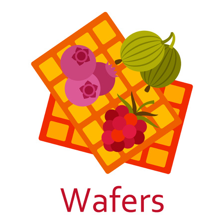 Wafers with berries. Sweet food flat icon. Vector illustration.