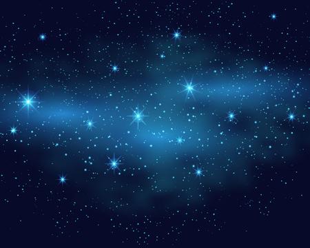 unexplored: Cosmic space dark sky background with blue bright shining stars nebula at night vector illustration.