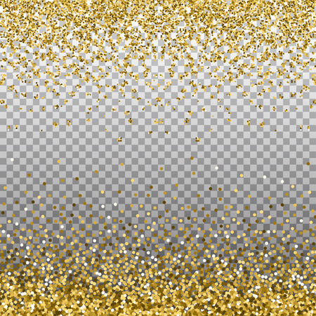 Gold glitter background. Golden sparkles on border. Template for holiday designs, invitation, party, birthday, wedding, New Year, Christmas. Vector illustration.