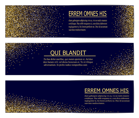 Horizontal Black and Gold Banners Set, Greeting Card Design. Golden Dust. Vector Illustration. Happy New Year and Christmas Poster Invitation Template. Place for your Text Message. Ilustrace
