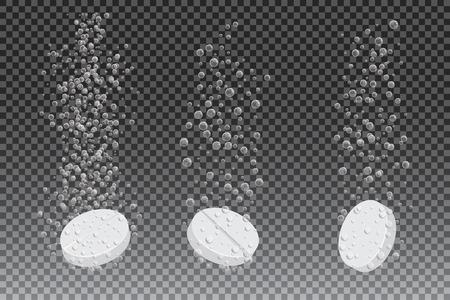 fármaco soluble con el rastro con gas aislado en fondo a cuadros, ilustración vectorial. La vitamina efervescente en agua, tres tabletas de disolución.
