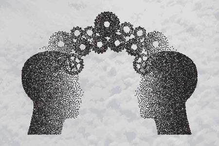 Concept van hersenbestorming, Kennis delen tussen mensen hoofd, dit werd getoond door middel van tandwielen die van de ene menselijke hersenen overbrengen naar andere, dit vertegenwoordigt ook creatieve geest, innovatie. Partikel divergente samenstelling.
