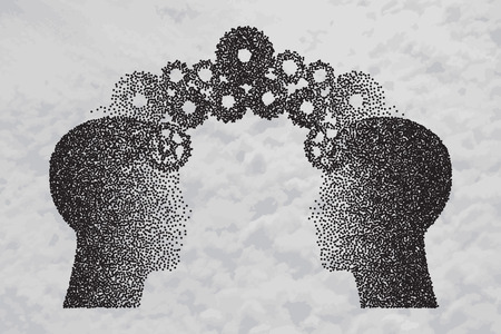 Concept of Brain storming, Knowledge sharing between to people head, this was shown through cogwheels transferring from one human brain to other, this also represents creative mind, innovation. Particle divergent composition.